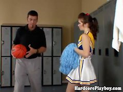 Flexible cheerleader fucked by coach