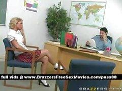 Sexy blonde schoolgirl at school