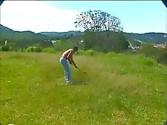 Sexy Blonde Shemale and the Lawnboy