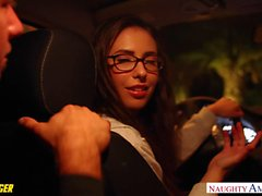 Girl in glasses Casey Calvert fuck a passenger