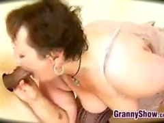 Chubby Granny Enjoying A Big Black Cock