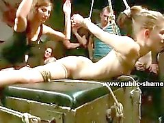 Teen babe bound naked on the bus and humiliated by hard cock in outdoor extreme sex video