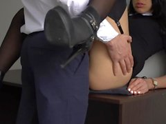 Anal Creampie Para el Secretario atractivo, jefe follada coño apretado y Culo!