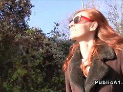 Fake agent fucks redhead outdoors