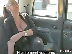 Monster tits British amateur in taxi