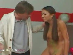 18yo with pigtails copulated by teacher