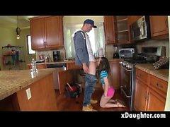 Brunette Teen Bambi Brooks Sucking Dick On Kitchen Floor