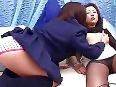 Asian Girl Kissing Spitting With A Schoolgirl Getting Her Nipples Sucked On The Bed by japlez