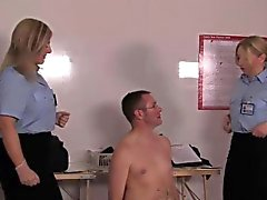 Uniformed mistresses inspecting subs asshole