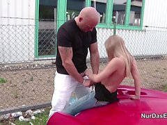 German Street Hooker Teen Fucked Outdoor for less Money
