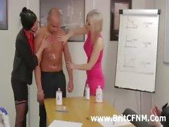 British CFNM businesswomen strip man