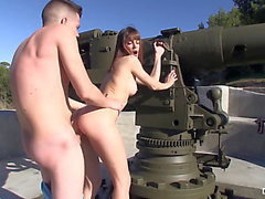 Slender Spanish chica loca widens her legs for a large gun