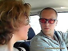 German redhead stops car for fucking