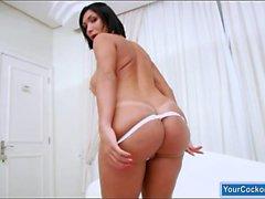 Massive boobs shemale Sabrina Suzuki jerks off her fat cock