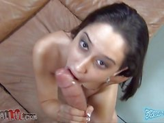 Petite slut latina Rachel Rose gives an amazing blowjob