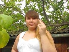 Russian girl smokes