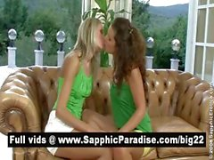 Sexy brunette and blonde lesbians kissing and having lesbian sex