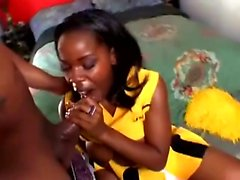 Sexy ebony cheerleader reveals her hot body and her great oral skills