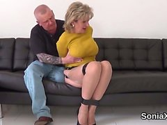 Unfaithful english mature lady sonia shows her gigantic brea