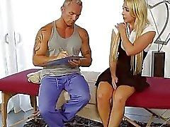 Massaging a beautiful big boobed blondie Alix Lynx