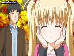 Teen anime blonde with big hooters gets bent over and drilled