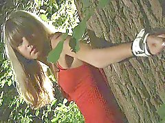 Young pussy tied in the woods