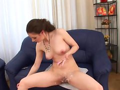 Sweet chick trims her hairy pussy