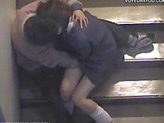 Voyeur Sex Inside Of Building Stair