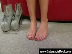 Foot fetish - Sexy teen babes fucking cock with their feet 14