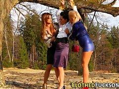 Glam lesbians 3way lick
