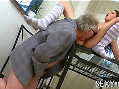 Babe is having wild threesome with fellow and aged teacher