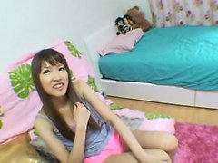 Cute petite Asian girl has fun learning how to ride a dick