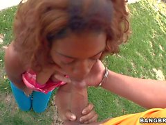 Black teen girl Essence sucks dick outdoors and indoors