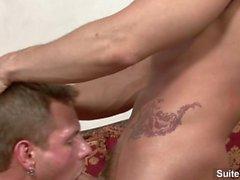 Sexual tattooed gays Phenix Saint and Trent Diesel slurp their pricks