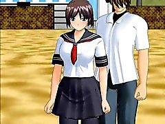 Horny anime schoolgirl gives blowjob