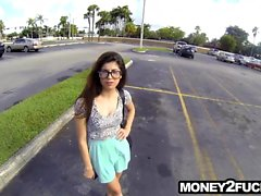 Teen with glasses on offered money to fuck
