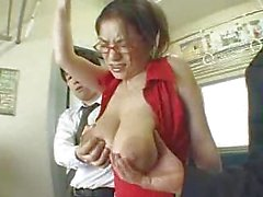 Anna Ohura's Shapely Natural Breasts Ravished On a Train