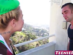Petite blonde babe Alina West gets a creampie surprise