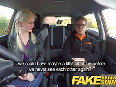 Fake Driving School blonde English student deep creampie