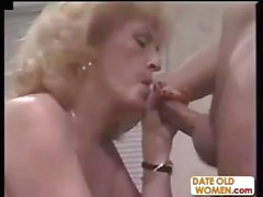 Old blonde granny blows his rod, gets nailed and a cumshot
