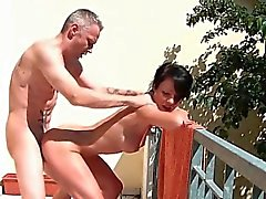 Short haired brunette nympho getting pounded doggy style an