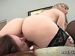 Horny blonde mature lesbian goes crazy