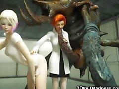 De 3D Monstruos extranjeros Destruya a las muchachas !