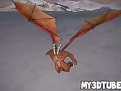Redhead en 3D est baisée dur par un dragon horned