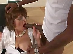Lady Sonia gets interracial sucking cocks