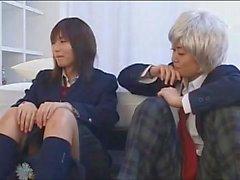 Japanese Lesbian Schoolgirl Kissing Another Girl in Drag