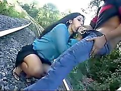 Hot latina gets blowjob that is tough on train tracks