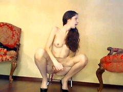 Thin blonde teen Bella Anne nylon fetish sexual interco