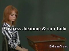 Tall busty mistress toying redhead sub