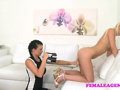 FemaleAgent Agent slides her dildo deep inside blonde